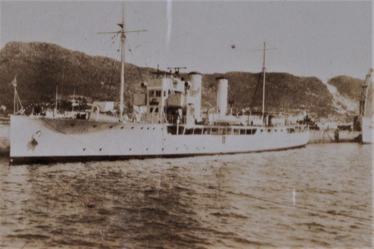Flower-class minesweeping sloop HMS Verbena in Simonstown