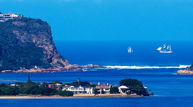 Tall ships at the Knysna Heads. Image by Ian Fleming