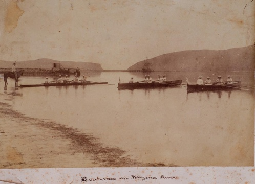 A rowing race on the Knysna Lagoon, late 19th or early 20th Century