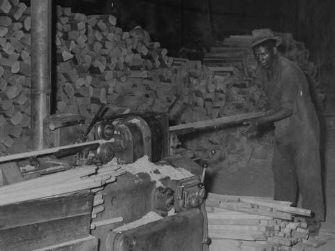 Turning handles, Knysna forest timber