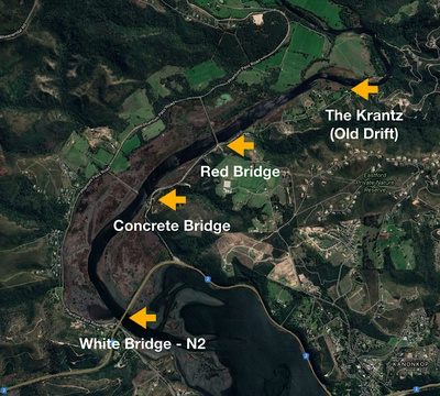 Knysna River, bridges, fords, White Bridge, Concrete Bridge, Red Bridge, The Drift, The Krantz