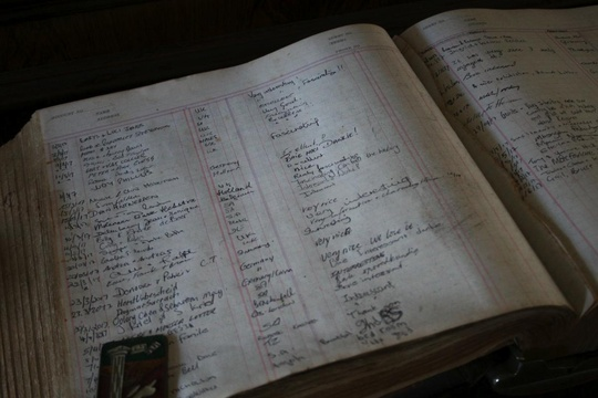 Guest book in Millwood House at the Knysna Museum