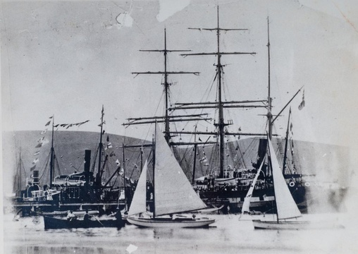 Timber merchants, Knysna, lifestyle. SS Agnar, SS Ingerid, Plettenberg Bay whaler at the government wharf; sailing regatta, early 20th Century