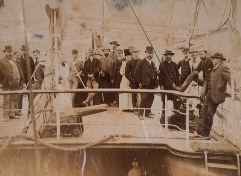 Aboard the ss Venice - first ship to tie up at the Government Wharf, 1883