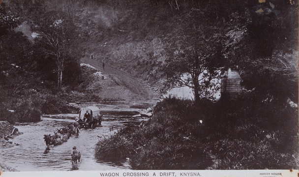 Wagon crossing a drift, Knysna, 19th Century