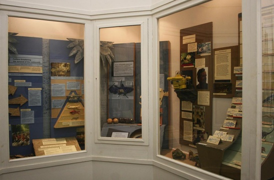 Coelacanth display in the Old Gaol at the Knysna Museum; model of the submarine built by Prof Hans Fricke to film the fish on the right