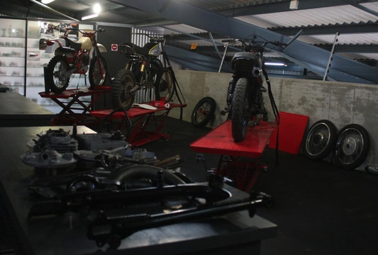 The Motorcycle Room Knysna - private collection of bikes. Restoration bays
