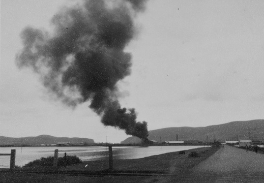 Fire in the creosote plant at Thesen's Sawmill, 1952